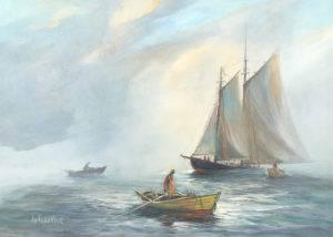 Bluenose and Three Dories — William deGarthe